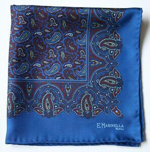 E.Marinella Silk pocket square handkerchief. Blue & burgundy Paisley Hand rolled