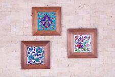 3x Handmade Handpainted Turkish Ottoman Design Wall Art Ceramic Tile Wood Frame