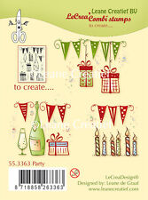 Leane Creatief Clear Combi Stamps - Party - 55.3363 - Cardmaking - NEW IN