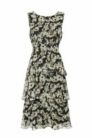 WALLIS Black Floral Print Tiered Sleeveless Midi Dress SIZE UK 10