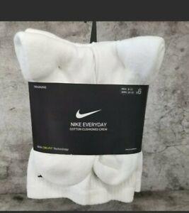 Nike Socks Dri-Fit Crew Everyday Cushioned  White 6 Pairs SX7666 100 SIZE L