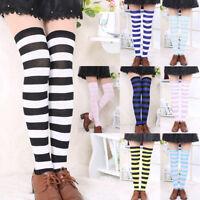Women Stripe Thigh High Socks Thigh High Kawaii Girls Stretchy Stockings Fashion