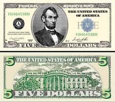 $5 Poker Play Money ~ Five Dollar Bill ~ Lincoln ~ Fake Funny Money Novelty Note