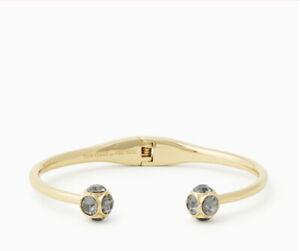 NWT Kate Spade Lady Marmalade Open Hinged Cuff Bracelet O0RU1440 Black Diamond