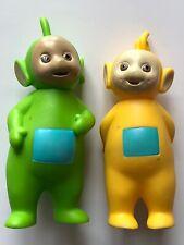 2 Teletubbies Figures Hasbro Ragdoll 1998 LaaLaa (yellow), Dipsy (green).