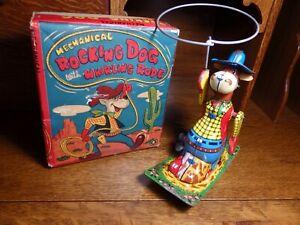 "Rare Ohta Kasburo ""Rocking Dog w/Whirling Rope"" Tin Windup Toy and Original Box"