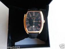 Lucien Piccard Men's 10029-RG-01 Grivola Ortlet Black Dial Black Leather Watch