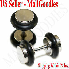 2080 Fake Cheaters Illusion Faux Ear Plugs 16G Bar Surgical Steel 2G 6mm Small