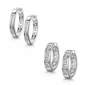 Amberta 925 Sterling Silver Hoop Earrings with Zirconia Hinged Hoops for Women