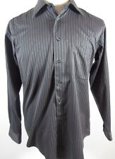 Pronto Uomo Mens Shirt Casual Long Sleeve Cotton  Gray Red Stripe Sz L BTN Front
