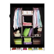 DIY Portable Cloth Wardrobe Closet Clothes Storage Organizer Black With Shelve