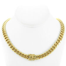 "Men's Cuban Miami Link 16"" Choker Chain Real 18k Gold Over Stainless Steel 10mm"