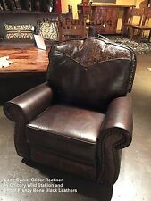 The Look 100% Hand Cut Top Grain Leather Glider Swivel Recliner Made in the USA