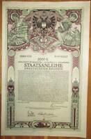 ÖSTERREICH AUSTRIA 8. Kriegsanleihe 2.000 Kronen 1918 Austrian War Loan