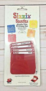 BIRTHDAY Sizzix Slizzlits Doodle Dies 4 Die Set Sm Red Sidekick Scrapbooking NEW