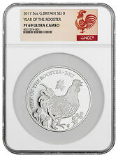 2017 Great Britain 10 Pound 5 oz. Silver Lunar Year Rooster NGC PF69 UC SKU44713