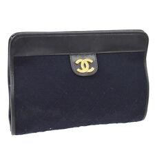 Auth CHANEL CC Clutch Bag Pouch Black Navy Black Cotton Leather Vintage NR09104