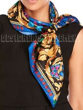 "VERSACE blue Ladybugs & Butterflies BAROQUE silk 35""-square scarf NWT Authentic!"