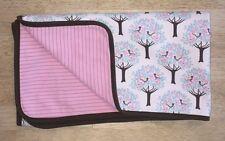 Dwell Studio Target Baby Blanket Brown Pink White Blue Birds Trees Stripes B