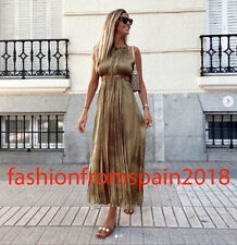 ZARA NEW WOMAN LONG SATIN DRESS WITH CUT-OUT DETAIL OLIVE GREEN XS-XL 9878/108