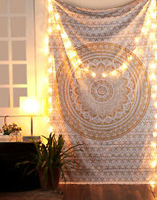 Gold and White Mandala Tapestry Hippie Wall Hanging Dorm Decor Twin Tapestry