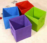 Square Foldable Fabric Toy Storage Boxes With Handles 27 x 27 x 27 cm Medium
