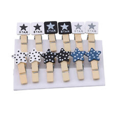 12Pcs Mini Wooden Star Pegs Wedding Photo Paper Clips Christmas Card Craft N7