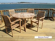 """Windsor's Genuine Grade A Teak, 39"""" Round DropLeaf Table W/4 Stacking Chairs"""