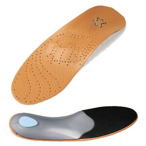 Unisex Faux Leather Orthotics Shoes Insoles Flat Foot Arch Support Cushion Pad