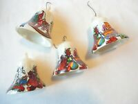 4 Vintage Decorated Bell Christmas Ornaments Unbreakable