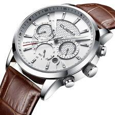 Men's Watches Stopwatch Date Luminous Hands Genuine Leather 30M Waterproof