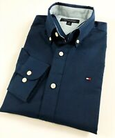TOMMY HILFIGER Shirt Men's Navy Blue Brushed Oxford Classic Fit Long Sleeve