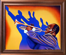 Birth of the Blues Trumpet Man Music Mahogany Picture Framed Wall Decor (18x22)