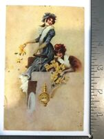 Vintage Postcard Two Women Throwing Flower Pedals Ohio Unposted