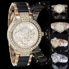 Luxury Fashion Women's Ladies Crystal Bracelet Leather Analog Quartz Wrist Watch