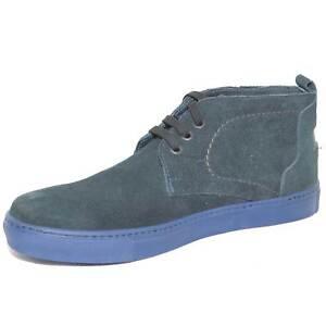 Polacchino scarpe uomo blu in vera pelle scamosciato fondo light roccia antisciv