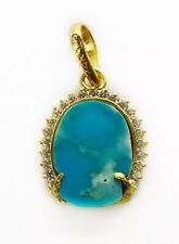 Handmade 24K Solid Yellow Gold 10 Ct Natural Turquoise Pendant