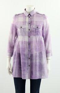 Burberry Brit Nova Check Cotton Blouse Shirt Tunic 3/4 Sleeve Size M / L