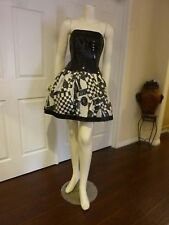 FUN STRAPLESS SILK  WHIMSICAL MAD HATTER BRIDESMAID PARTY PROM RECITAL DRESS