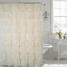 """Gypsy Ruffled Voile Sheer Shower Curtain 72"""" wide x 72"""" long IVORY"""