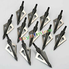 12Pcs Hunting Broadheads 100 Grain 3 Blade Broad Arrow Heads  Screw Tips