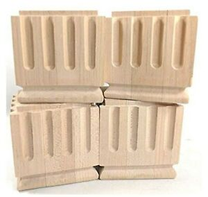 """Set of 4 Furniture Feet Legs Column Shaped Carved 4""""x4""""x4"""" Raw Unfinished"""