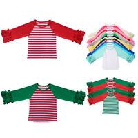 Sale Baby Girls Toddler Raglan Ruffle Shirt Baseball Blank T-shirt Ruffled Tops#