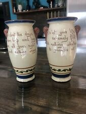 More details for x2 pair vases rare aller vale torquay pottery devon motto ware marked 1939