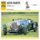 Aston Martin Le Mans 1,5 L Course 1933-1934 GB/UK CAR VOITURE CARTE CARD FICHE