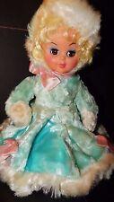 """Vintage Pajama Bag Doll Rushton? Spot Plush Rubber Face Turquoise 16"""" RARE"""