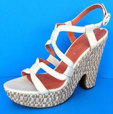 Via Spiga Women's White Leather Strappy Platform Wedge Heels Sandals - 7.5 / 38