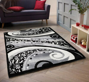 Area Rug Modern Rug Carpet Black And Cream