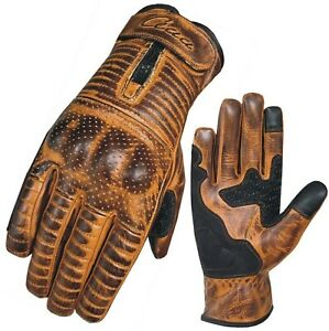 Motorbike Motorcycle Gloves Real Vintage Leather Knuckle Protection Touch Screen