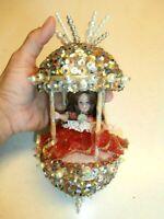 "Vtg Elegant Hand Made 10""Tall Christmas Ornament Push Pins, Beaded & Sequined."